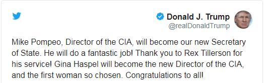 تغريدة الرئيس الأمريكي دونالد ترمب التي أعنلها من خلالها إقالة وزير الخارجية ريكس تيليرسون.