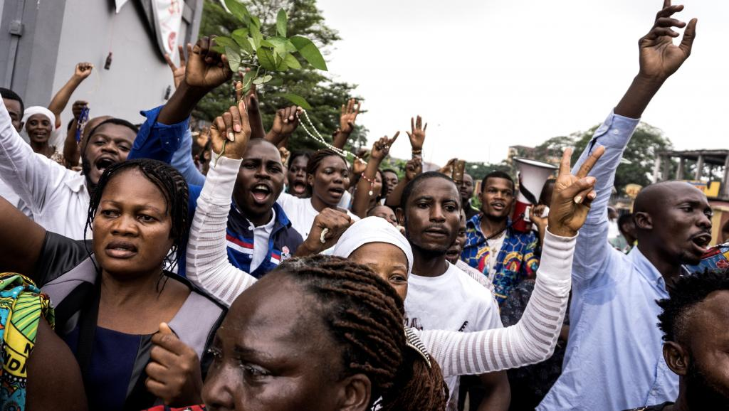 جانب من الاحتجاجات التي خرجت في العاصمة كينشاسا.