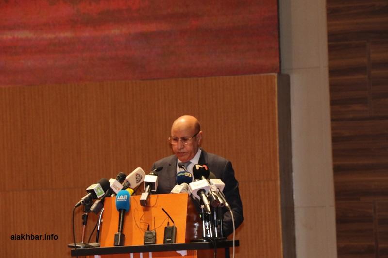 الرئيس محمد ولد الغزواني خلال خطابه في افتتاح المؤتمر اليوم الثلاثاء (الأخبار)