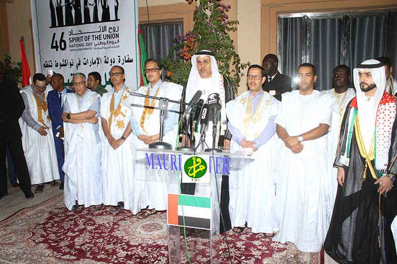 السفير الإماراتي في نواكشوط عيسى عبد الله مسعود الكلباني خلال كلمته في الأمسية (وما)
