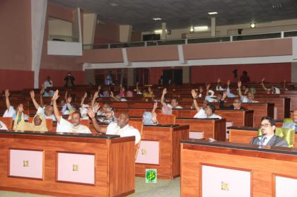 النواب خلال التصويت على النشيد مساء اليوم (وما)