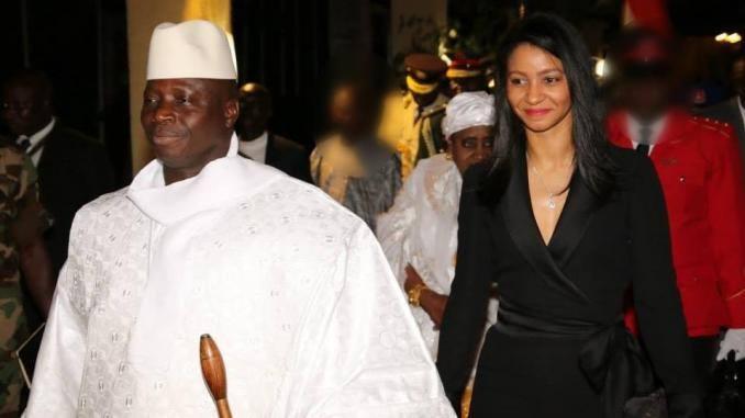 الرئيس الغامبي السابق يحيى جامي والسيدة الأولى السابقة زينب سوما