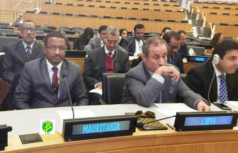 مندوب موريتانيا في الأمم المتحدة با عمثان خلال اجتماع المجموعة العربية في نيويوركـ (وما)