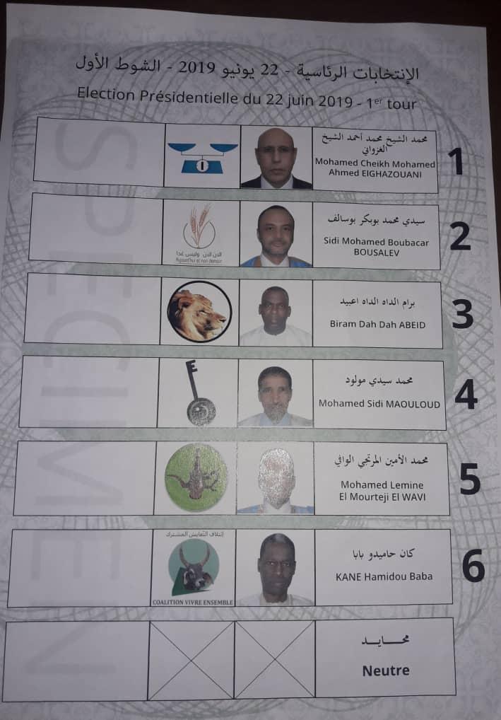 أنموذج لبطاقة التصويت تم تداوله منذ خلال الأسابيع الماضية