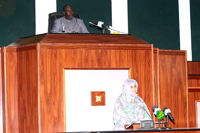 وزيرة الزراعة الأمينة بنت القطب ولد امم خلال حديثها أمام البرلمانيين (وما)