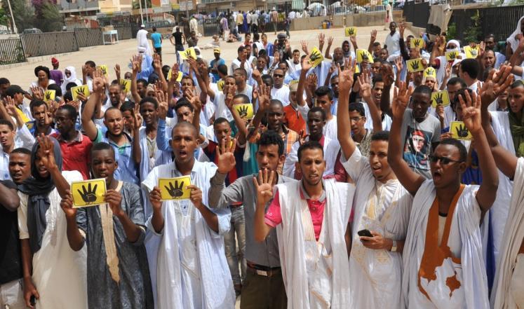 جانب من وقفة سابقة  في نواكشوط لإحياء الذكرى الثانية لمجزرة رابعة في مصر(أرشيف)
