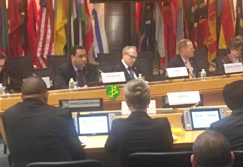 الوفد الموريتاني خلال لقائه مع مسؤولي إحدى المؤسسات المالية العالمية (وما)