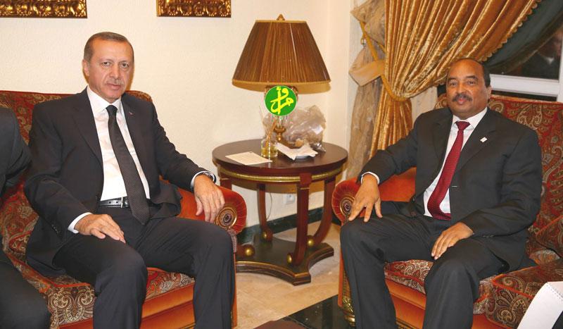 الرئيسان الموريتاني والتركي خلال لقاء سابق لهما (وما)