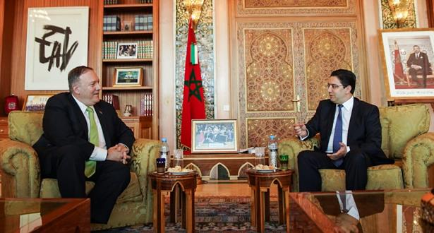 وزير الخارجية المغربي ناصر بوريطة وكاتب الدولة الأمريكي، مايك بومبيو