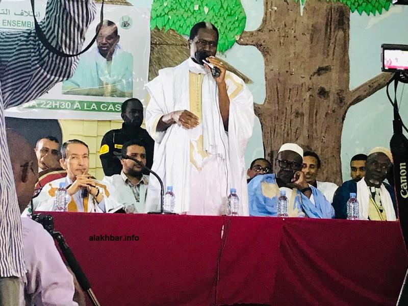 المرشح الرئاسي كان حاميدو بابا خلال خطابه في حفل إعلان حزب الجبهة الشعبية دعمهم له (الأخبار)