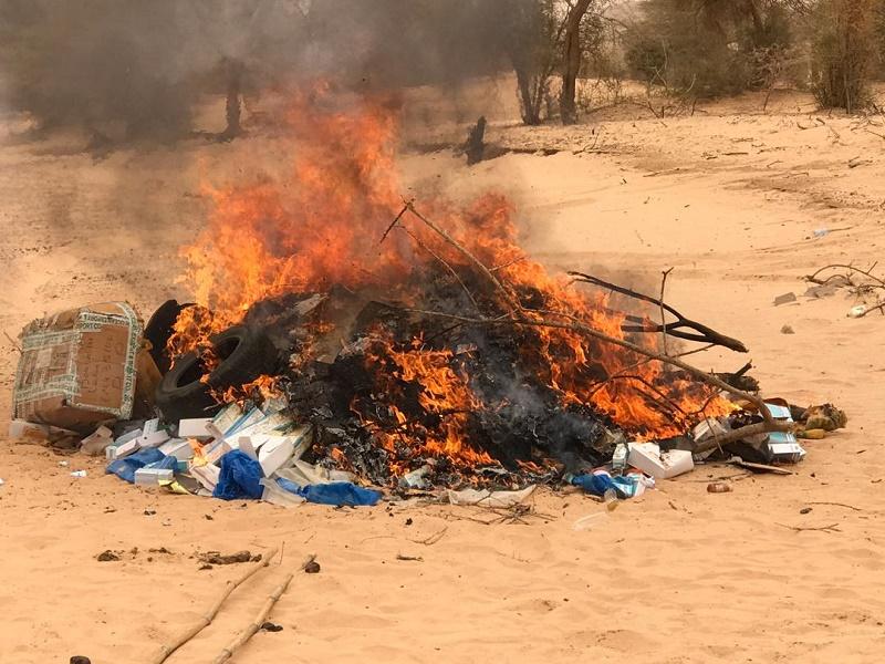 كمية من المخدرات تم إحراقها يوليو الماضي في ولاية الحوض الغربي
