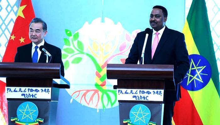 ورقنه جيبو وزير الخارجية الأثيوبي ونظيره الصيني يانغ بي.