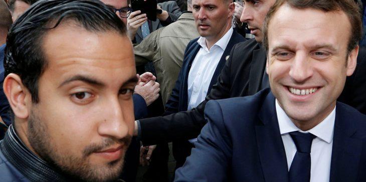الرئيس الفرنسي إيمانويل ماكرون رفقة حارسه الشخصي ألكسندر بنالا ـ (وكالات)