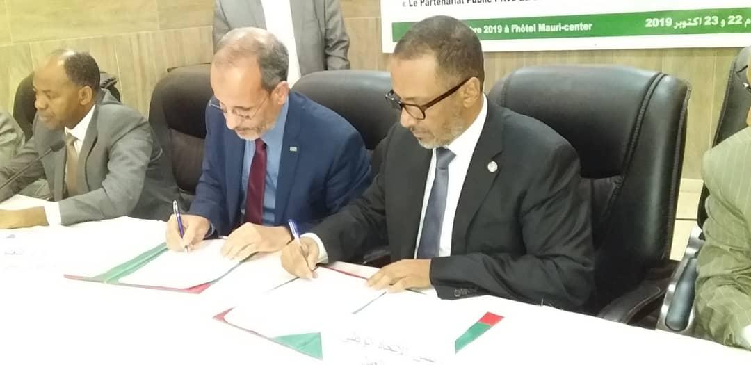 وزير التعليم الثانوي ورئيس اتحاد أرباب العمل خلال توقيع اتفاق الشراكة
