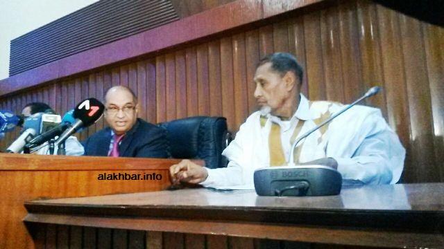 رئيس مجلس الشيوخ محسن ولد الحاج خلال افتتاح الجلسة مساء اليوم (الأخبار)
