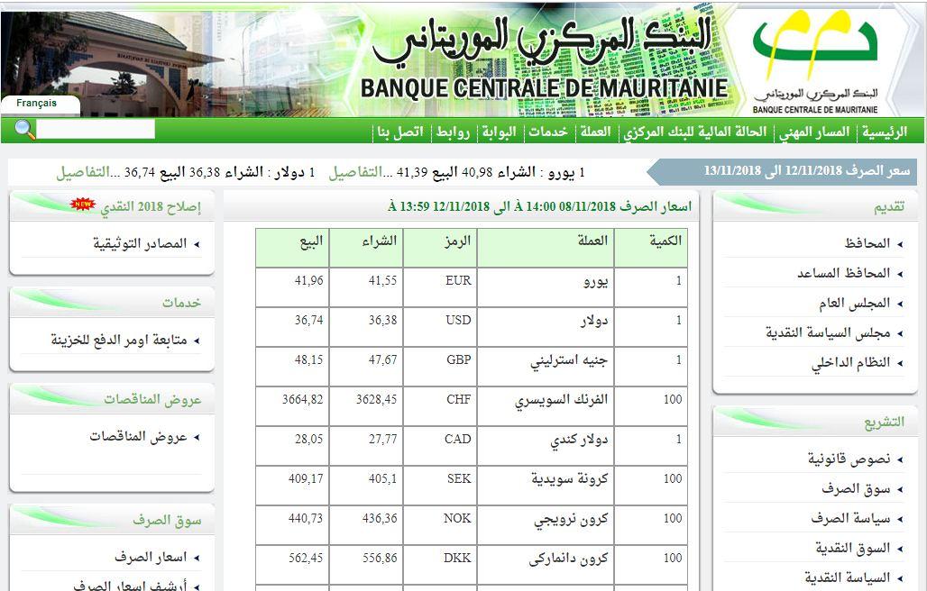سعر صرف الأوقية المعلن من البنك المركزي خلال عطلة الأسبوع من 08 إلى 12 نوفمبر الجاري