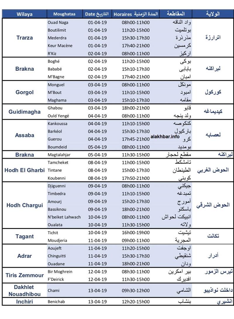 الجدول التفصيلي لجولة المرشح الرئاسي محمد ولد الغزواني