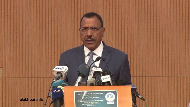 مرشح الحزب الحاكم في النيجر لرئاسيات 2021 الوزير السابق محمد بازوم خلال حضوره مؤتمر الاتحاد من أجل الجمهورية في نواكشوط (الأخبار)