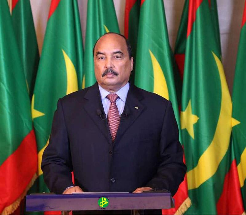 الرئيس الموريتاني محمد ولد عبد العزيز خلال خطابه بمناسبة عيد الفطر (وما)