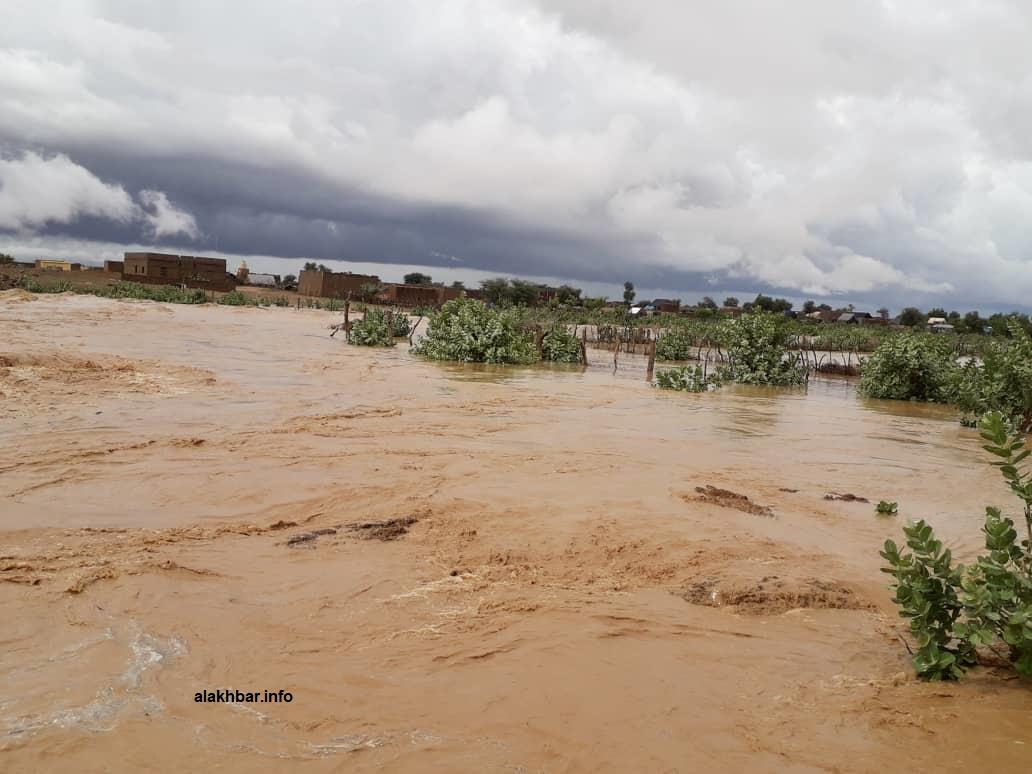 السيول تدفقت على المدينة من المرتفعات القريبة منها كما تواصلت عليها الأمطار لعدة ساعات (الأخبار)