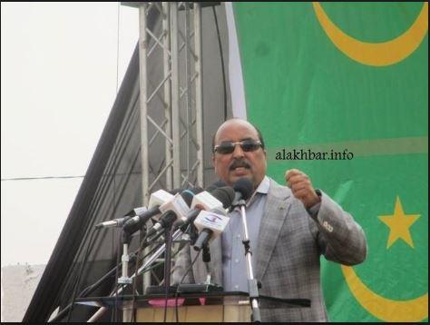 الرئيس الموريتاني محمد ولد عبد العزيز خلال خطاب سابق له (الأخبار - أرشيف)