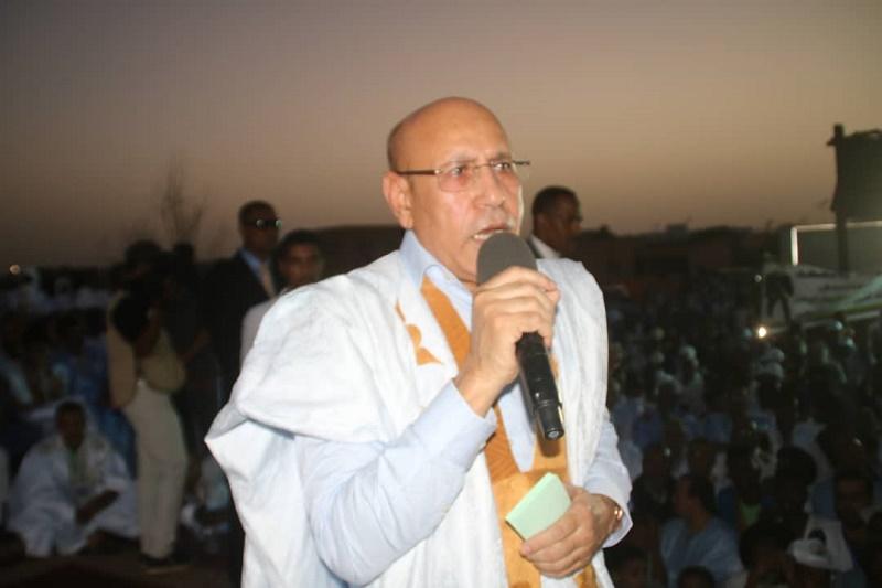 المرشح الرئاسي محمد ولد الغزواني خلال حديثه في مهرجان أطار أمس الأحد