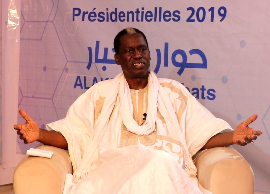 """المرشح الرئاسي كان حاميدو بابا خلال مشاركته في برنامج """"حوار الأخبار"""""""