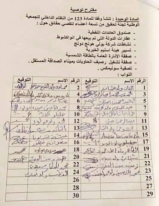 مقترح التوصية وأسماء البرلمانيين الذي وقعوه