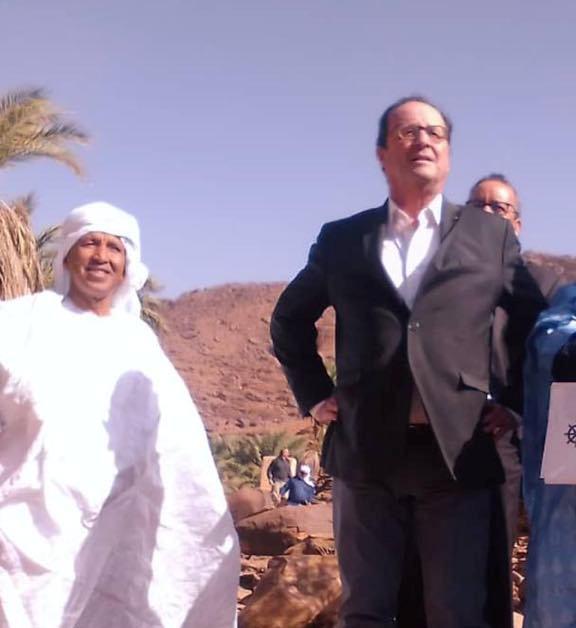 الرئيس الفرنسي السابق افرانسو هولاند ورجل الأعمال محمد ولد انويكظ في مدينة أطار اليوم