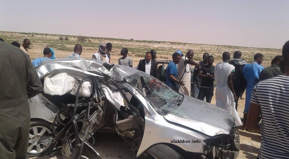 السيارة التي تعرضت للحادث على طريق المطار الجديد