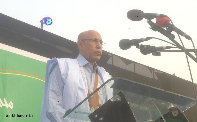 المرشح ولد الغزواني خلال خطاب إعلان الترشح فاتح مارس الجاري (الأخبار - أرشيف)