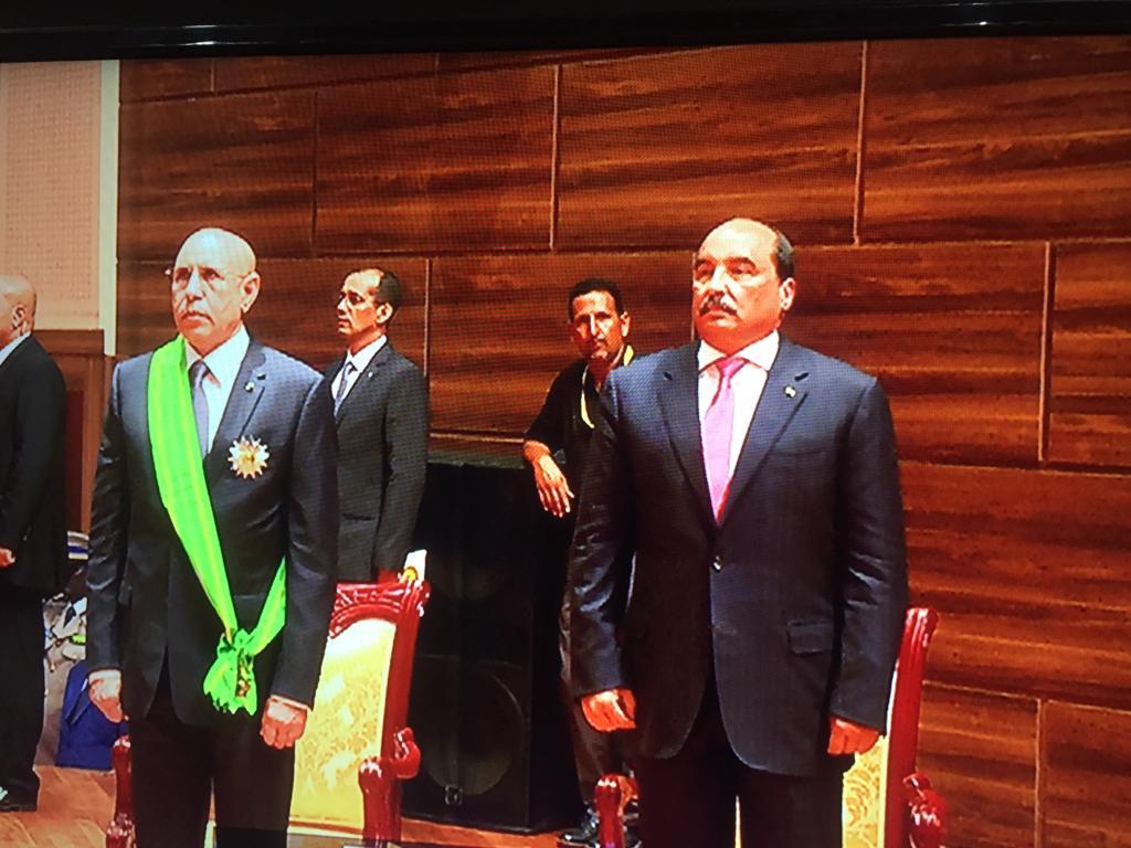 الرئيس الموريتاني محمد ولد الغزواني والرئيس السابق محمد ولد عبد العزيز