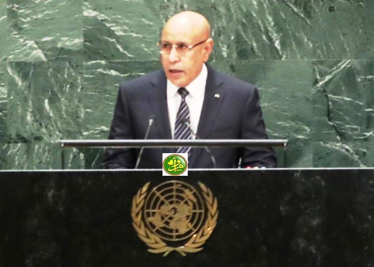 الرئيس الموريتاني محمد ولد الغزواني خلال خطابه في الجمعية العامة للأمم المتحدة سبتمبر الماضي (وما)