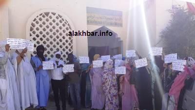 جانب من وقفة احتجاجية لمقدمي خدمات التعليم الفردي في نواذيبو/ الأخبار