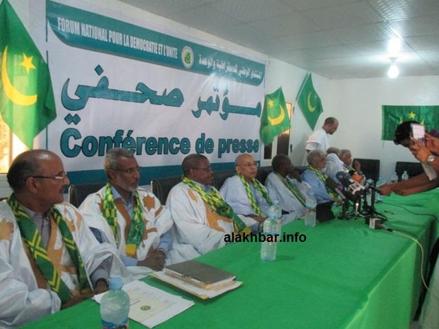 قادة المنتدى خلال مؤتمر صحفي صباح اليوم الجمعة بنواكشوط(الأخبار)