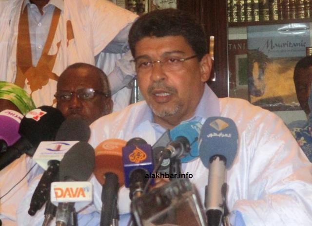 رئيس حزب الاتحاد من أجل الجمهورية الحاكم في موريتانيا سيد محمد ولد محم خلال مؤتمر صحفي سابق (الأخبار - أرشيف)