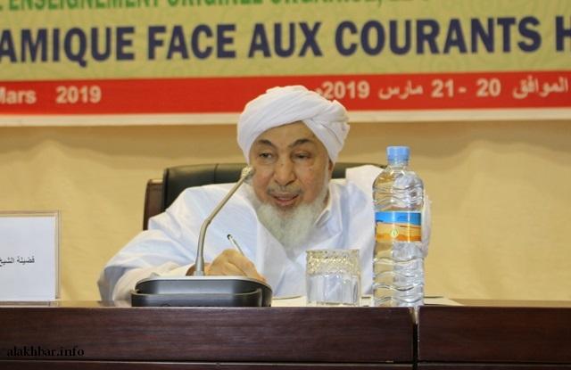 الشيخ العلامة عبد الله بن بيه خلال افتتاح مؤتمر علمي سابق بنواكشوط