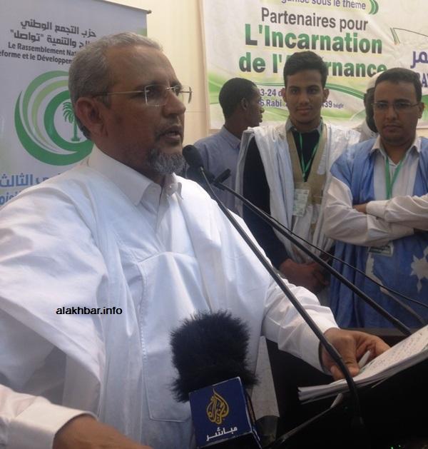 """رئيس حزب """"تواصل"""" محمد محمود ولد سييدي (الأخبار - أرشيف)"""
