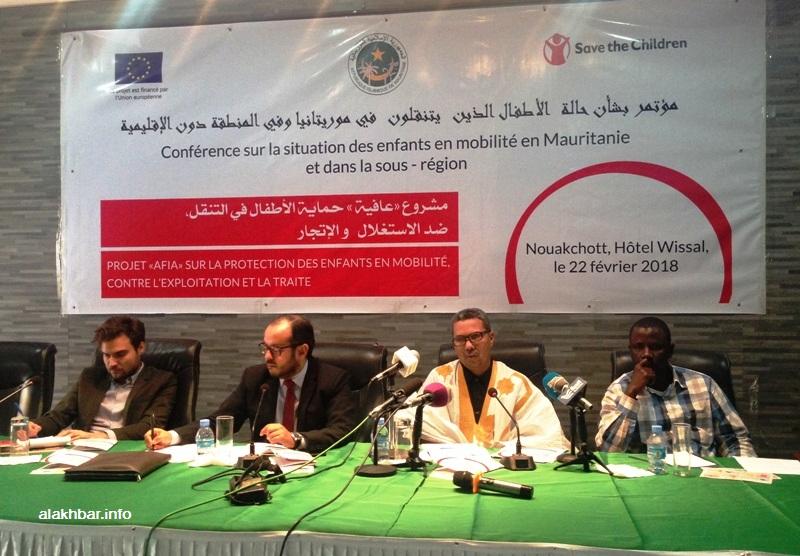 منصة تقديم الدراسة خلال مؤتمر صحفي مساء اليوم في نواكشوط (الأخبار)