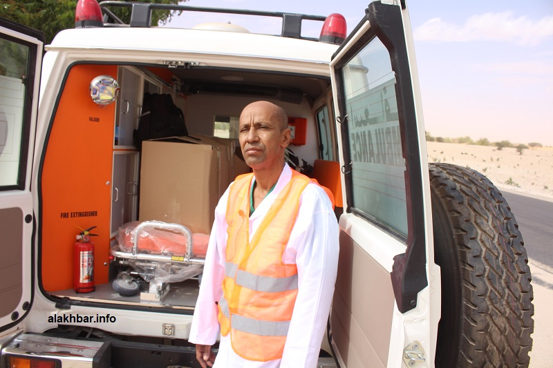 محمد ولد عيدله فني عالي في الصحة خلال حديثه للأخبار من منطقة تمركز فريقه الطبي عند الكلم 90 من نواكشوط (الأخبار)