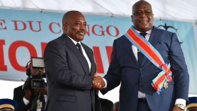 الرئيس الكونغولي فيليكس تشيسكيدي والرئيس السابق جوزيف كابيلا
