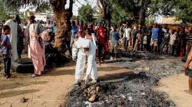هجوم انتحاري سابق بمدينة مايدوغري شمال شرقي نيجيريا.
