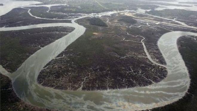 منظر من دلتا النيجر الغني بالبترول.