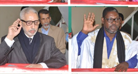 ديدي ولد بونعامه رئيس اللجنة الوطنية المستقلة للانتخابات ونائبه عثمان ولد بيجل.