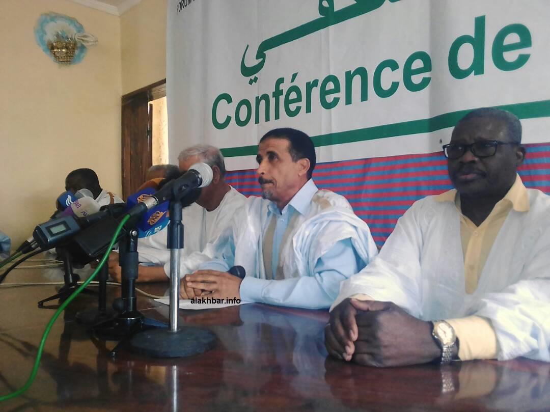 افي الوسط الرئيس الدوري للمنتدى محمد ولد مولود يتحدث في مؤتمر صحفي اليوم السبت بنواكشوط (الأخبار)