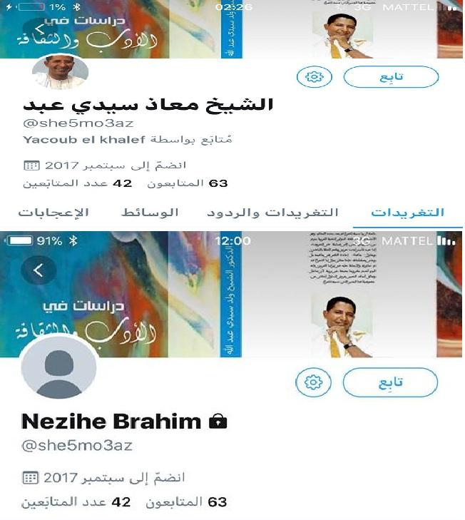 صفحة الشاعر والناقد الشيخ ولد سيدي عبد الله قبل وبعد تغيير اسمه