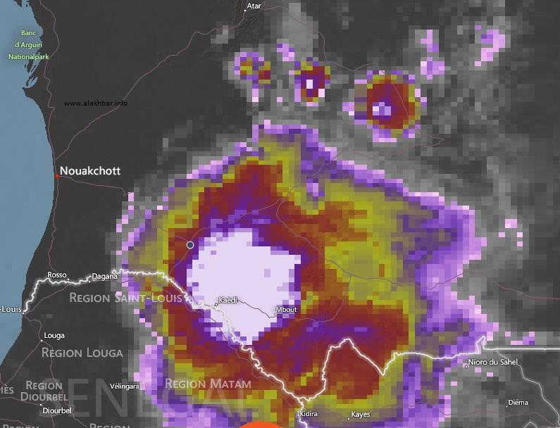 خارطة توزع الامطار مساء اليوم 8 أغسطس عند الساعة السابعة