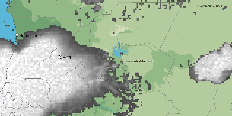 خرطة توزع الامطار فجر اليوم الخامس سبتمبر 2017