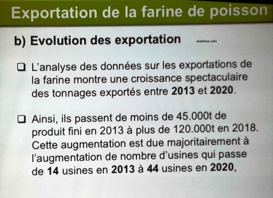 أظهرت الوثيقة معطيات عن مصانع دقيق السمك وكيف انتقل عددها من 14 في 2013 إلى 44 مصنعا/ الأخبار