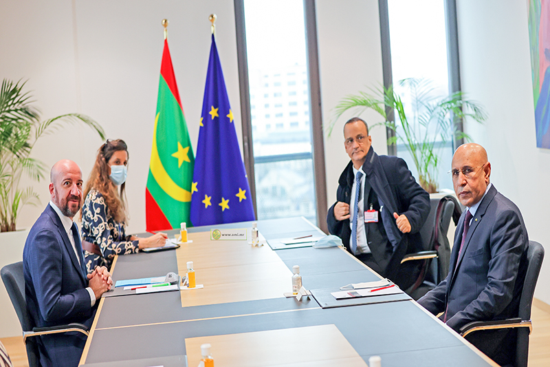 الرئيس الموريتاني محمد ولد الغزواني خلال مباحثاته مع رئيس المجلس الأوربي شارل ميشل (وما)